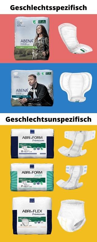 Beispiele für Abena Inkontinenz-Produkte