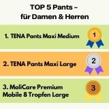 Sieger Top 5 Inkontinenz-Pants für Männer und Frauen