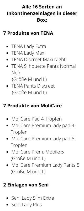 Inhalt Probebox Frauen mittlere Inkontinenz