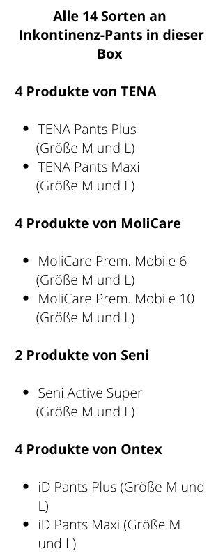 Inhalt Probebox Unisex schwere Inkontinenz M/L